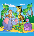 african beach with cute animals vector image vector image
