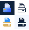 bank document with credit card stock icon set the vector image vector image