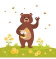 bear character eating sweet honey vector image vector image