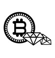 bitcoin and diamonds black and white vector image