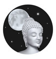 buddha face with moon on night background sky vector image