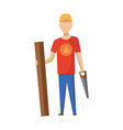 builder carpenter construction worker with vector image vector image