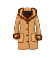 cartoon fur winter coat isolated on white vector image