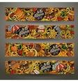 Cartoon hand drawn doodles Autumn banners vector image vector image