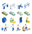 carwash icons set vector image vector image