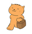 cat and wicker basket vector image
