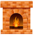 christmas fireplace with fire and firewood vector image