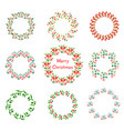 christmas wreath set with winter floral hand vector image vector image