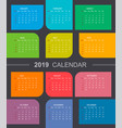 colorful calendar 2019 week starts on sunday vector image
