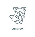 cute fox line icon cute fox outline sign vector image vector image