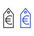 euro tag icon vector image vector image