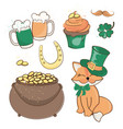 fox treasure saint patrick day cartoon vector image