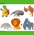funny cartoon animal characters set vector image