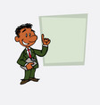 happy black businessman is showing as in a vector image vector image