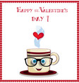 happy st valentines day card with cute coffee mug vector image