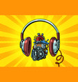 headphones and steampunk heart motor vector image vector image