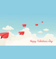 heart shaped paper airplanes flying vector image