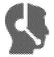 hexagon halftone call center operator icon vector image