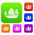 junk boat set color collection vector image vector image