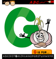 letter g with garlic cartoon vector image vector image