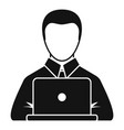 manager works laptop icon simple style vector image