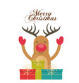 merry christmas reindeer decoration card vector image