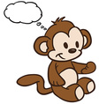 monkey with thought bubble vector image vector image