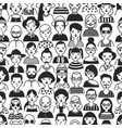 monochrome seamless pattern with portraits old vector image vector image