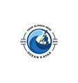 ocean kayaking emblem logo vector image vector image
