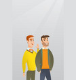 one man whispering to a friend a secret vector image vector image