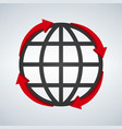 round red arrows around world planet icon digital vector image vector image