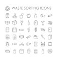 set garbage separation recycling related waste vector image