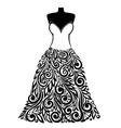 silhouette a dress with a floral element vector image