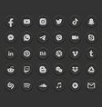 social media dark mode 3d round web icons set vector image vector image