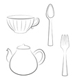 Styled set of kitchen utensils vector image