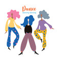 stylized figures dancing girls vector image vector image