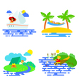 Summer activity icons set in flat style vector image vector image