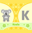 the english alphabet with koala vector image vector image