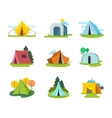 Tourist tents set in flat style vector image vector image