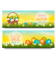 two easter sale banners colorful eggs in green vector image vector image