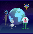 ufo game cartoon aliens with earth planet globe vector image vector image