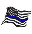 waving usa police blue line flag vector image