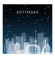 winter night in rotterdam night city in flat vector image vector image