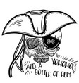 with a human skull and hat vector image vector image