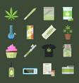 marijuana equipment and smoking icon set vector image