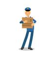 postman in blue uniform holding cardboard box vector image