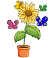 A pot with a flowering plant and colourful vector image