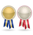 award rosette gold and silver vector image vector image