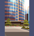 beautifil city street sunrise skyline high vector image