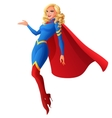 Beautiful sexy blond superhero woman flying and vector image